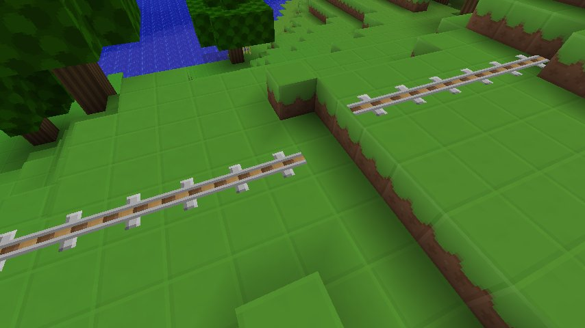 Have a one block gap in the track, where the initial track is one block higher than the second