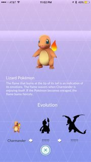 Charmander showing unknown evolutions